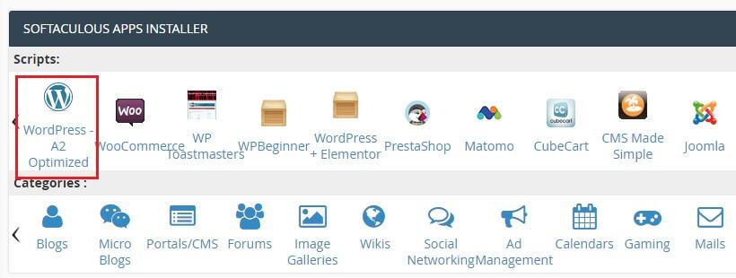 Install a wordpress blog