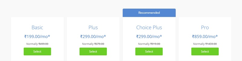 Bluehost India Shared Hosting Plans